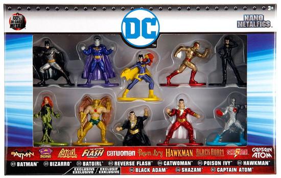 DC Nano Metalfigs Batman, Bizarro, Batgirl, Reverse Flash, Catwoman, Poison Ivy, Hawkman, Black Adam, Shazam! & Captain Atom 1.5-Inch Diecast Figure 10-Pack