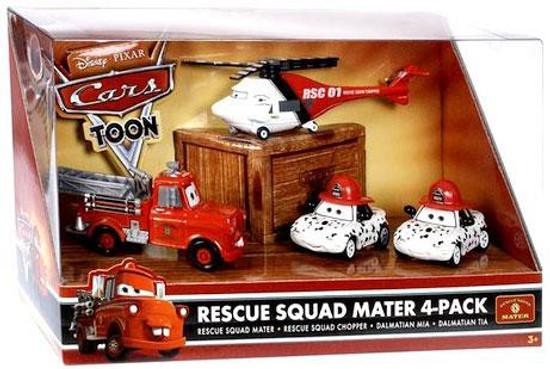 Disney / Pixar Cars Cars Toon Multi-Packs Rescue Squad Mater 4-Pack Diecast Car Set [Fire Engine Mater]