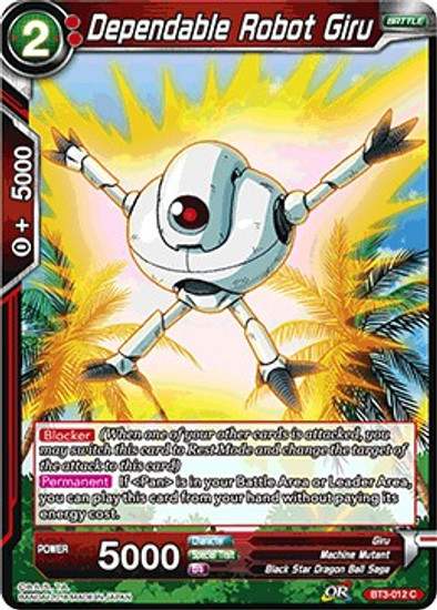 Dragon Ball Super Collectible Card Game Cross Worlds Common Dependable Robot Giru BT3-012