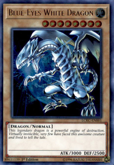 YuGiOh Kaiba Legendary Collection Ultra Rare Blue-Eyes White Dragon LCKC-EN001 [Earth Background]
