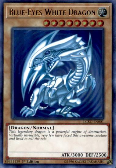 YuGiOh Kaiba Legendary Collection Ultra Rare Blue-Eyes White Dragon LCKC-EN001 [Ripple Background]