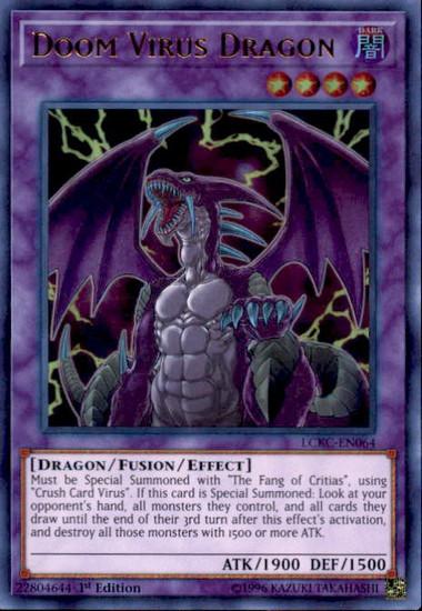 YuGiOh Kaiba Legendary Collection Ultra Rare Doom Virus Dragon LCKC-EN064