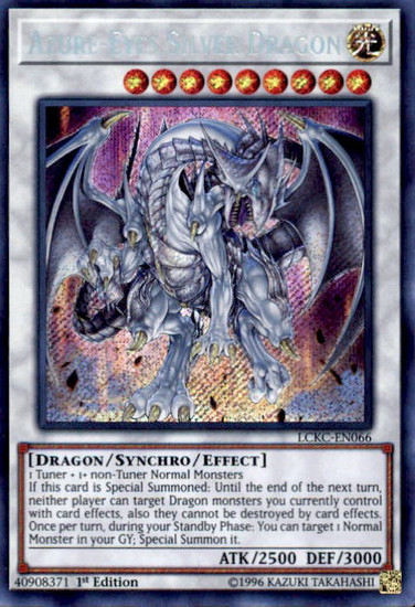 YuGiOh Kaiba Legendary Collection Secret Rare Azure-Eyes Silver Dragon LCKC-EN066