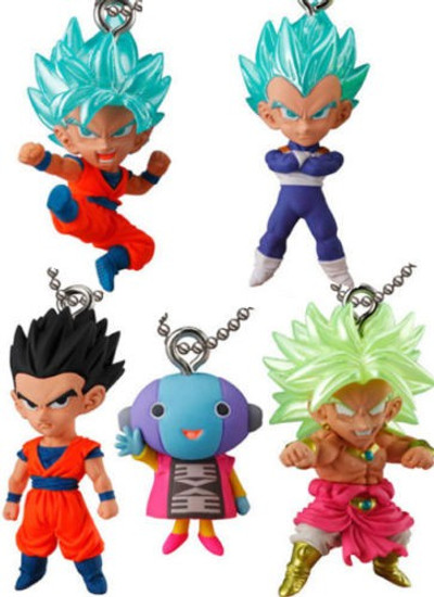 Dragon Ball Super UDM Best 22 SS Blue Son Goku, SS Blue Vegeta, Son Gohan, Broly & Zeno 1.5-Inch Keychain Clip-On [Loose]