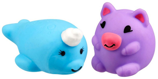 JigglyDoos Blue Narwhal & Purple Pig Squeeze Toy 2-Pack