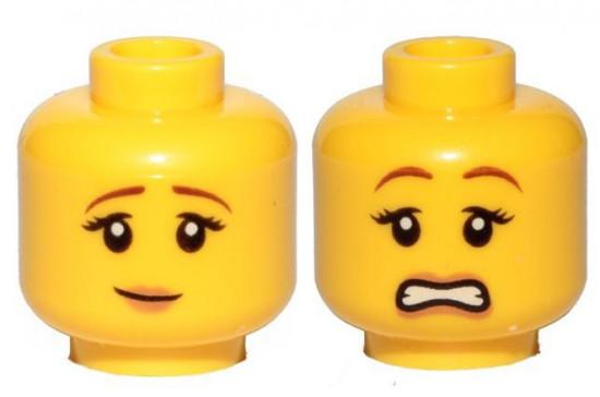 Peach Lips, Pensive Smile / Scared Female Minifigure Head [Dual-Sided Print Loose]
