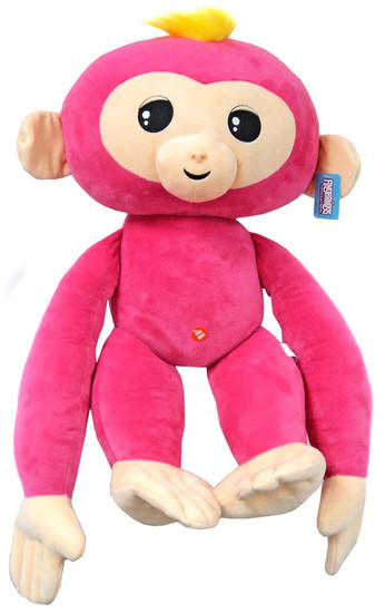 Fingerlings Baby Monkey Pink with Yellow Hair 27-Inch JUMBO Plush with Sound