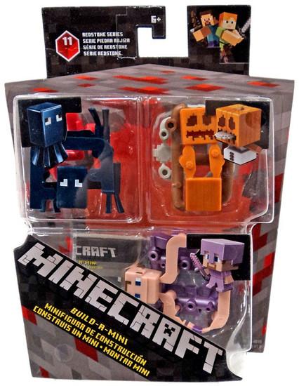 Minecraft Redstone Series 11 Squid, Snow Golem & Alex in Enchanted Armor Mini Figure 3-Pack