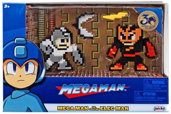 Classic 8-Bit Gray / White Mega Man vs Elec Man Mini Figure 2-Pack