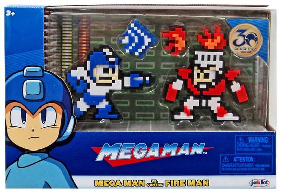 Classic 8-Bit Blue / White Mega Man vs. Fire Man Mini Figure 2-Pack