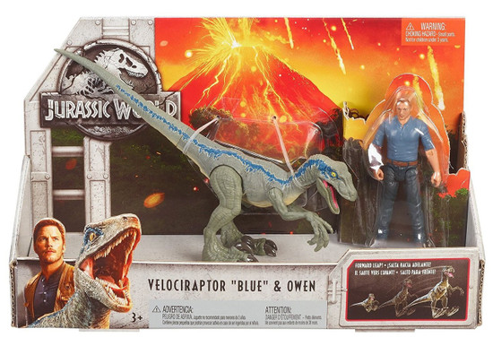 Jurassic World Fallen Kingdom Story Pack Velociraptor Blue & Owen Action Figure