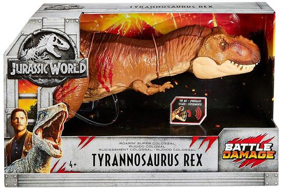Jurassic World Fallen Kingdom Roarin' Super Colossal Tyrannosaurus Rex Exclusive Action Figure [Battle Damage]