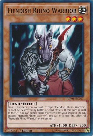 YuGiOh Lair of Darkness Structure Deck Common Fiendish Rhino Warrior SR06-EN017