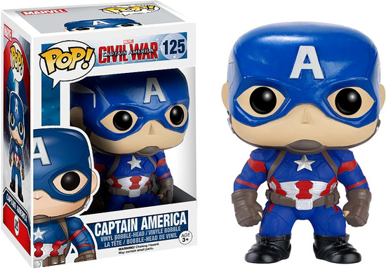 Funko Civil War POP! Marvel Captain America Vinyl Bobble Head #125 [Civil War, Damaged Package]