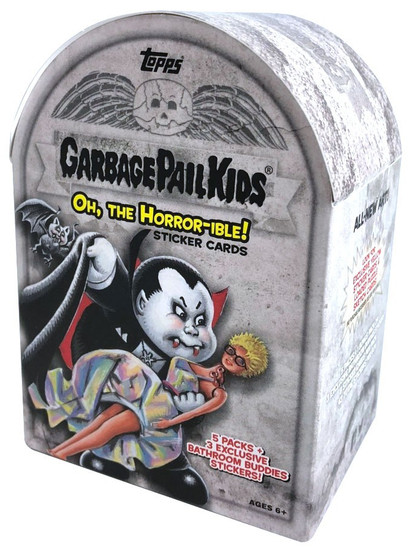 Garbage Pail Kids Topps 2018 Oh, The Horror-ible Trading Card Sticker BLASTER Box [5 Packs + 3 Exclusive Bathroom Buddies Stickers]