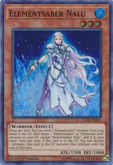 YuGiOh Flames of Destruction Super Rare Elementsaber Nalu FLOD-EN021