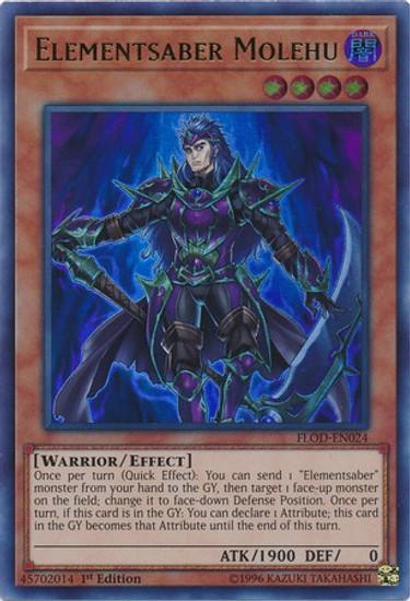 YuGiOh Flames of Destruction Ultra Rare Elementsaber Molehu FLOD-EN024