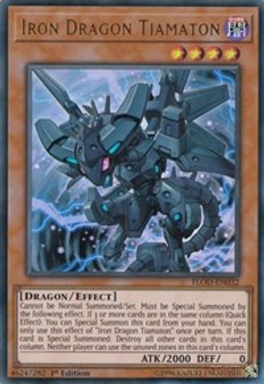 YuGiOh Flames of Destruction Ultra Rare Iron Dragon Tiamaton FLOD-EN032