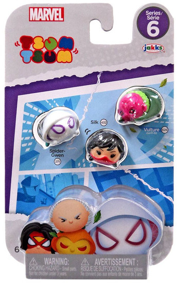 Marvel Tsum Tsum Series 6 Spider-Gwen, Silk & Vulture 1-Inch Minifigure 3-Pack #271, 432 & 626