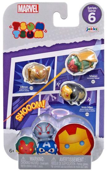 Marvel Tsum Tsum Series 6 Iron Man, Ultron & Vision 1-Inch Minifigure 3-Pack #614, 608 & 611