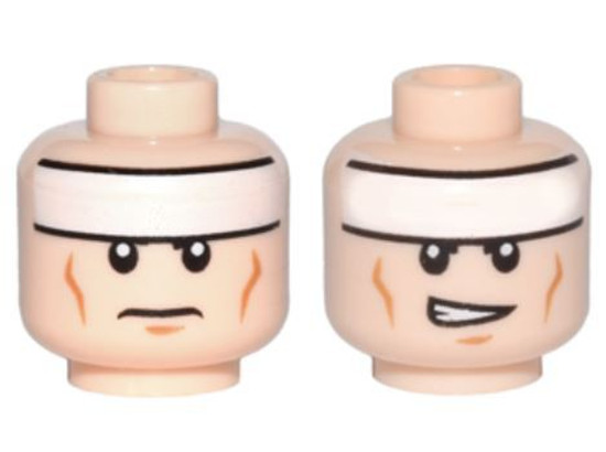 White Headband and Cheek Lines, Frown / Determined Pattern Minifigure Head [Dual-Sided Loose]