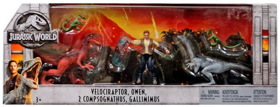 Jurassic World Fallen Kingdom Velociraptor, Owen, 2x Compsognathus & Gallimimus Exclusive Action Figure 5-Pack
