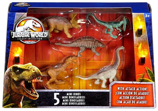 Jurassic World Tyrannosaurus Rex, Brachiosaurus, Dilophosaurus, Triceratops & Ankylosaurus 2-Inch Mini Dinosaur Figure 5-Pack