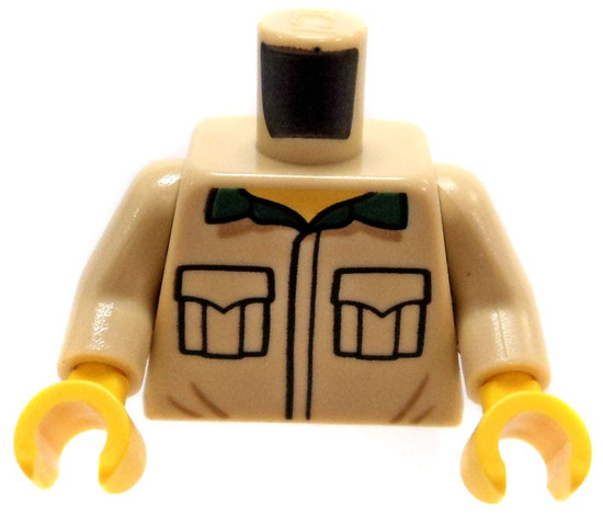 LEGO Tan with Black Outlined Pockets, Dark Green Collar Loose Torso [Loose]