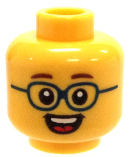 Dark Blue Glasses, Open Smile Showing Teeth and Tongue Minifigure Head [Loose]