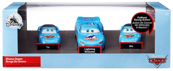 Disney / Pixar Cars Cars 3 Pull 'N' Race Dinoco Dream Exclusive Vehicle [Lightning McQueen, Tia & Mia]