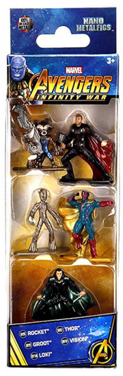 Marvel Avengers Infinity War Nano Metalfigs Rocket, Thor, Groot, Vision & Loki 1.5-Inch Diecast Figure 5-Pack