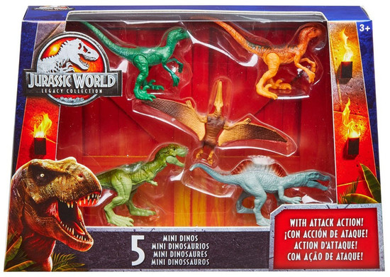 Jurassic World Tyrannosaurus Rex, Pteranodon, Spinosaurus & 2x Velociraptor 2-Inch Mini Dinosaur Figure 5-Pack
