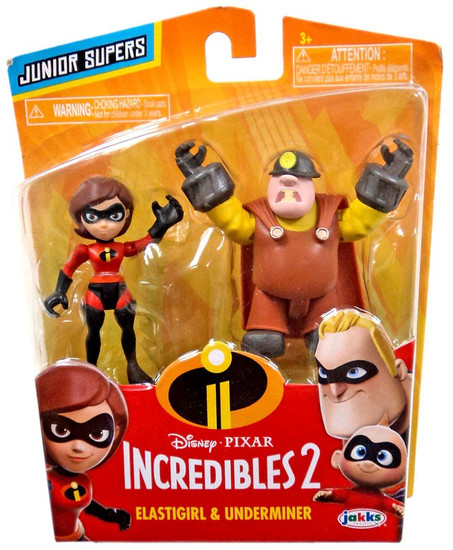 Disney / Pixar Incredibles 2 Junior Supers Elastigirl & Underminer 3-Inch Mini Figure 2-Pack