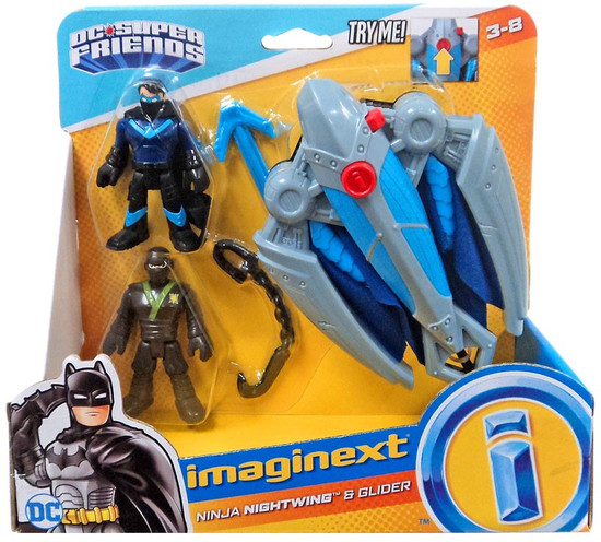 Fisher Price DC Super Friends Imaginext Ninja Nightwing & Glider Figure Set