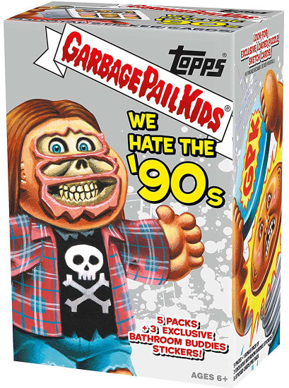 Garbage Pail Kids Topps 2019 We Hate the '90s Trading Card Sticker RETAIL BLASTER Box [5 Packs + 3 Exclusive Bathroom Buddies Stickers]