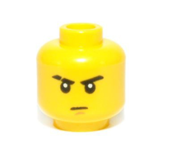 Stern Eyebrows (one Scarred), Brown Chin Dimple Minifigure Head [Loose]