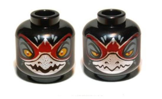 Raven with Silver Beak, Wide Eyes / Narrow Eyes Minifigure Head [Dual-Sided Loose]