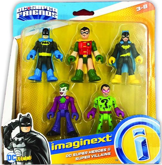 Fisher Price DC Super Friends Imaginext Batman, Robin, Batgirl, Joker & Riddler 3-Inch Figure 5-Pack