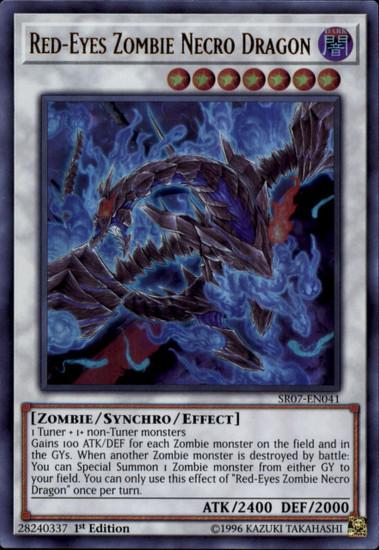 YuGiOh Structure Deck: Zombie Horde Ultra Rare Red-Eyes Zombie Necro Dragon SR07-EN041