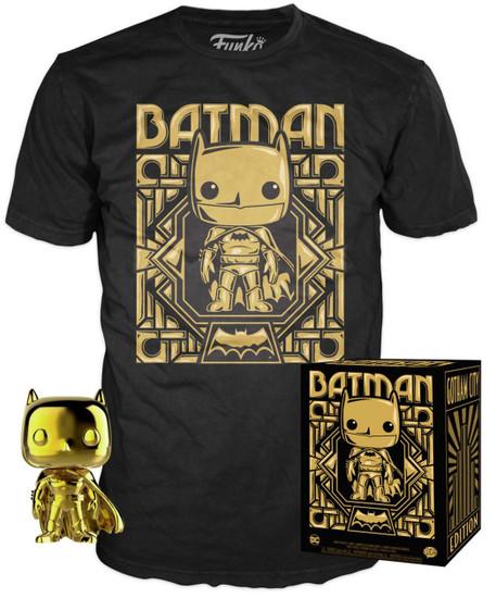 Funko DC Gold Batman Exclusive Vinyl Figure & T-Shirt [X-Large]