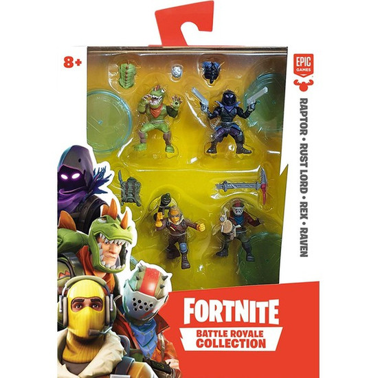 Fortnite Battle Royale Collection Raptor, Rust Lord, Rex & Raven 2-Inch Mini Figure 4-Pack