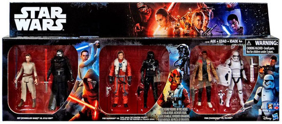 Star Wars The Force Awakens Rey vs Kylo Ren, Poe vs Tie Fighter Pilot & Finn vs FN-2199 Exclusive Action Figure 6-Pack [Damaged Package]
