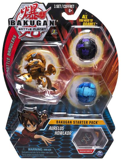 Bakugan Battle Planet Battle Brawlers Starter Pack Aurelus Howlkor 3-Figure Set