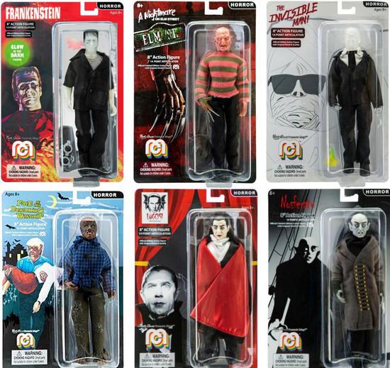 Horror Frankenstein, Freddy, Werewolf, Dracula, Nosferatu & Invisible Man Set of 6 Action Figures