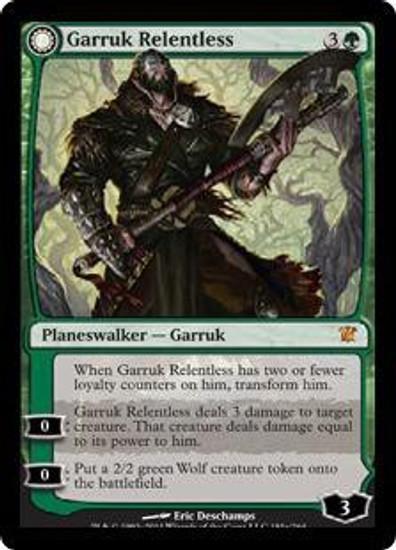 MtG Innistrad Mythic Rare Foil Garruk Relentless / Garruk, the Veil-Cursed #181