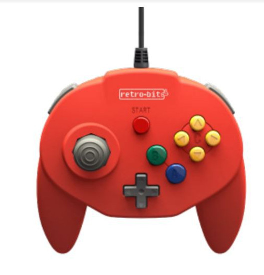 Retro-Bit Tribute64 Connector N64 Connector Controller [Red]