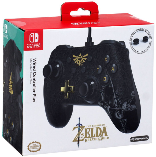 Nintendo Switch Zelda Breath of the Wild Wired Video Game Controller [All Black Version, Two Analog Cap Extenders]