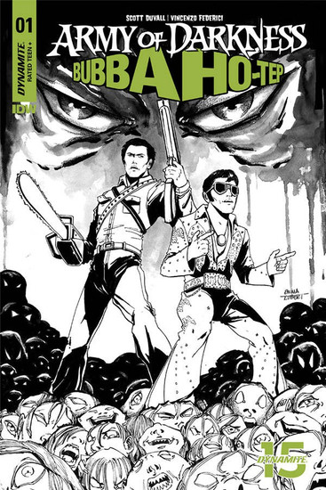 Dynamite Entertainment Army of Darkness Vs. Bubba Hotep #1 Comic Book [Kubert Black & White Variant]
