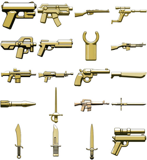 BrickArms Random Lot of 20 Tan Weapons & Accessories 2.5-Inch