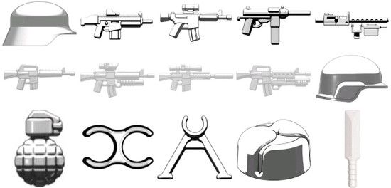 BrickArms Random Lot of 15 White Weapons & Accessories 2.5-Inch